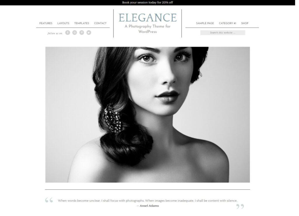 Elegance Pro WordPress Graphic Design Blog Portfolio Combo