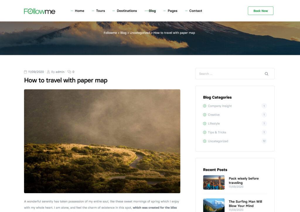 Followme Blog Design Example