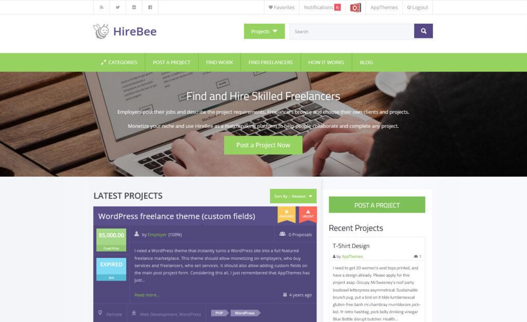 HireBee WordPress Theme for Micro Job Websites