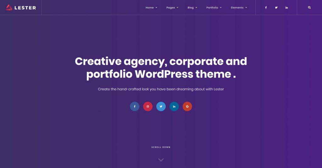 Lester Creative WordPress Portfolio Theme for Designers