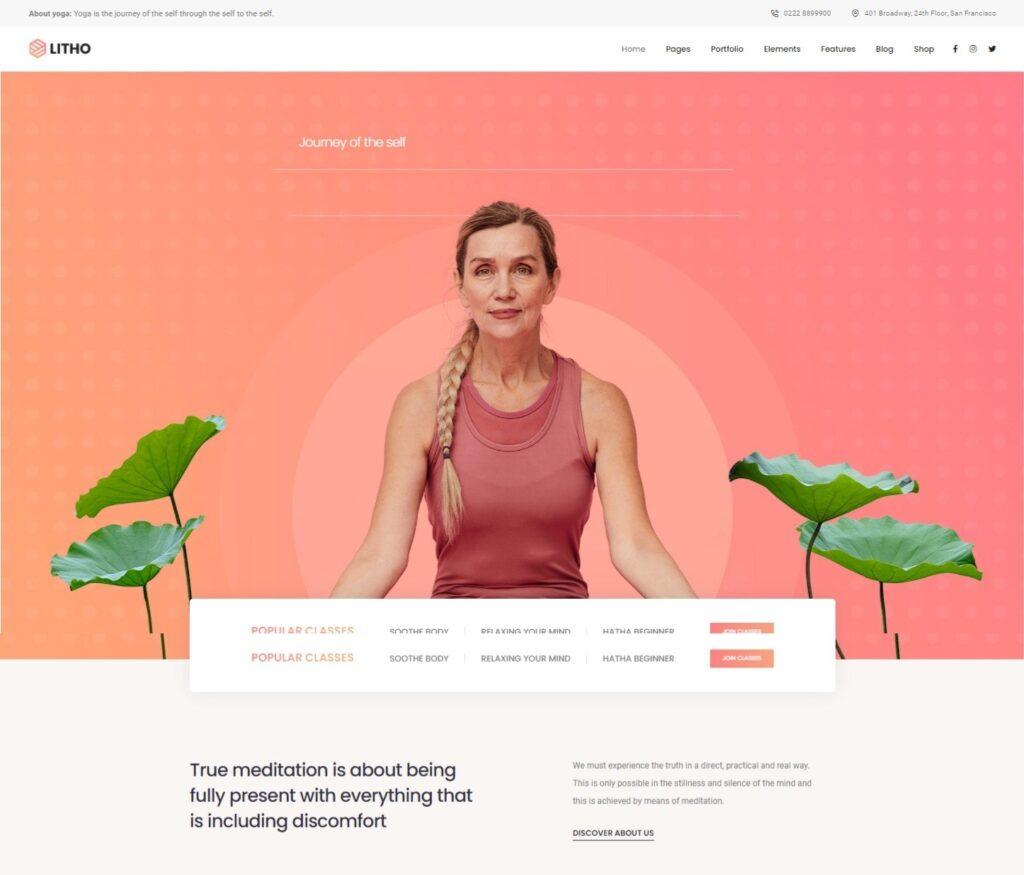 Litho Multipurpose Elementor WordPress Theme – Home yoga meditation Preset