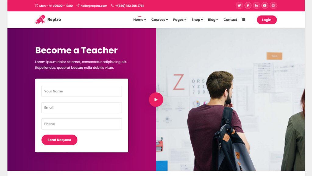 Reptro – Online Course WordPress Theme for College University LMS
