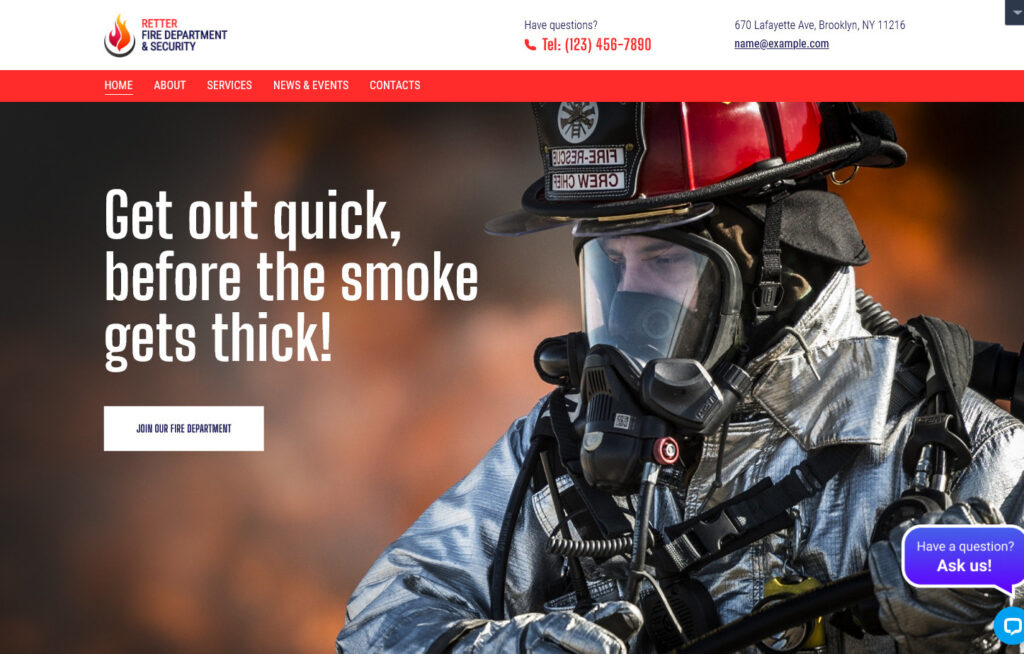 Retter Fire Department and Security WordPress Theme