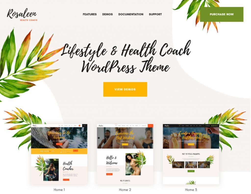 Rosaleen Health Coach WordPress Theme