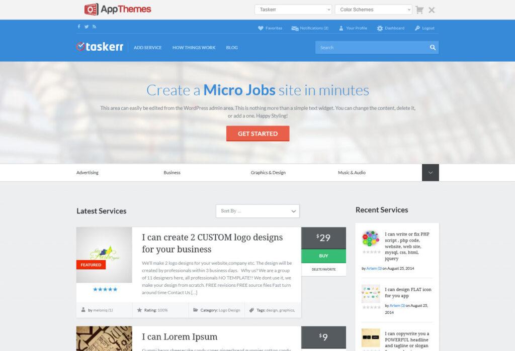Taskerr App Themes Micro Job Template