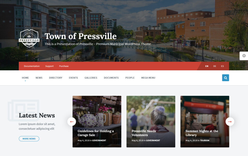 Town of Pressville Premium Municipal WordPress Theme