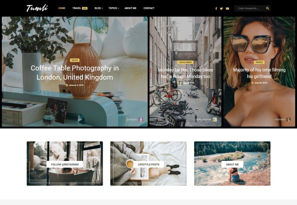 Tumli Graphic Designer Portfolio and Personal Blog Theme