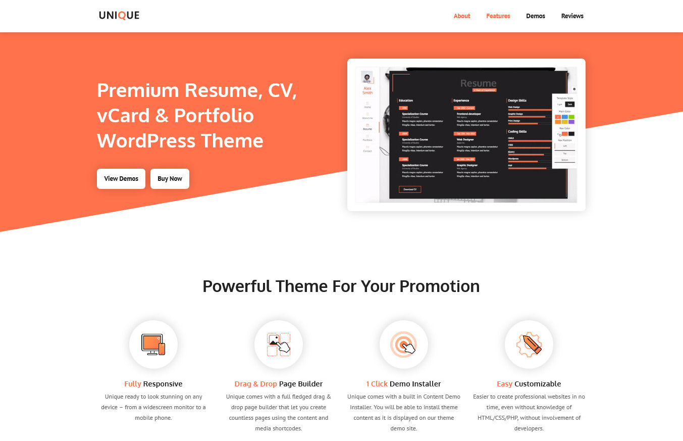 Unique Resume CV vCard Portfolio WordPress Theme