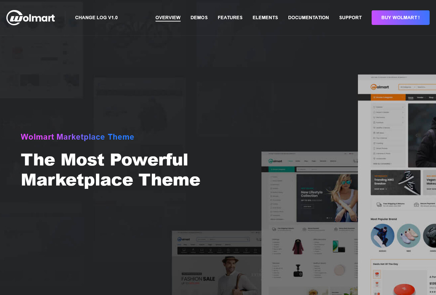 Wolmart Multi Vendor Marketplace eCommerce Theme