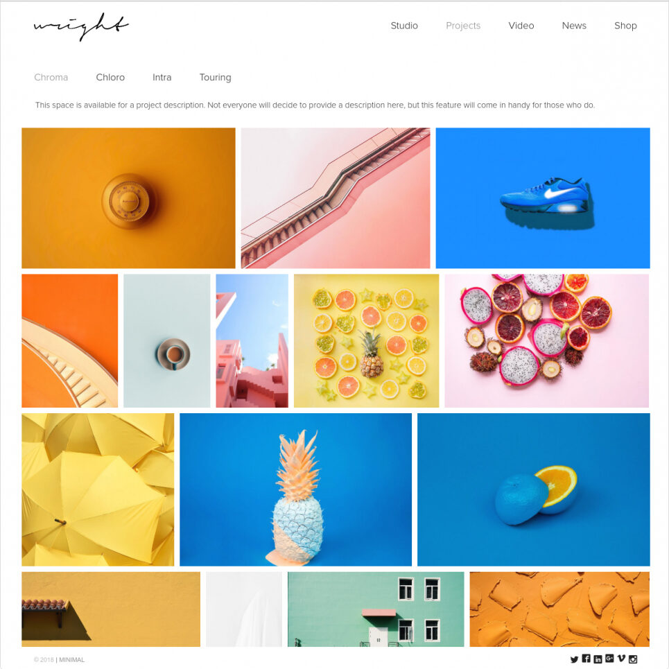 Wright Clean Flat Minimalist WordPress Graphic Design Portfolio Theme