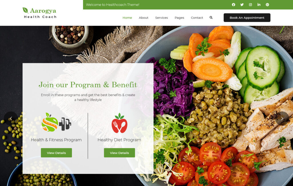 Aarogyam Nutritial and Dietician WordPress Theme