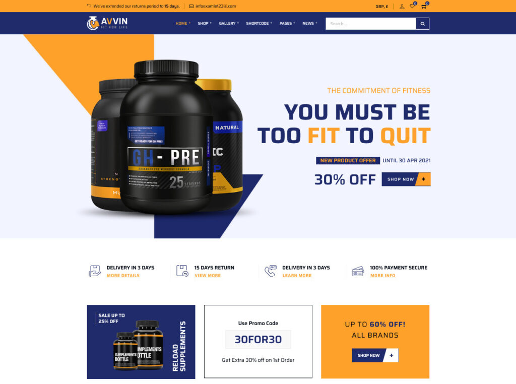 Avvin – Fitness Nutrition and Supplements WooCommerce Theme