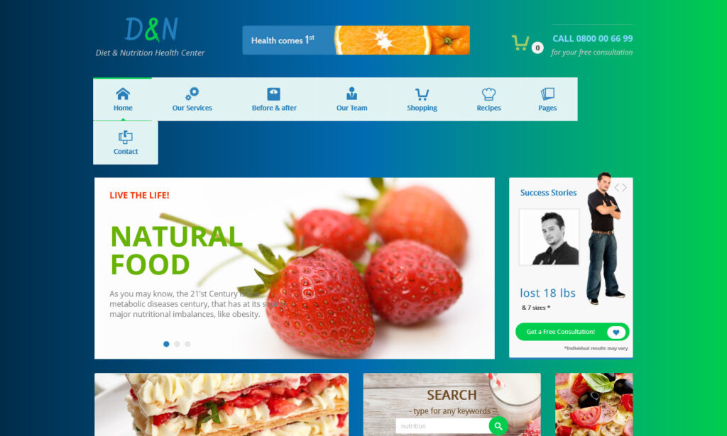 Diet and Nutrition WordPress Theme for Dieticians