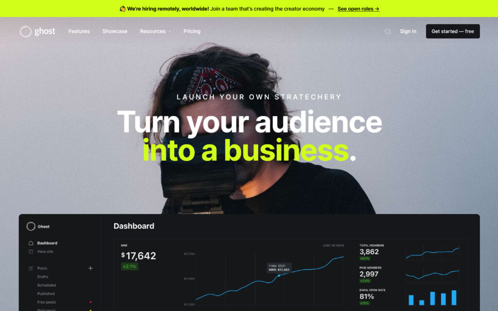 Ghost Content Management System Turn your audience into a business