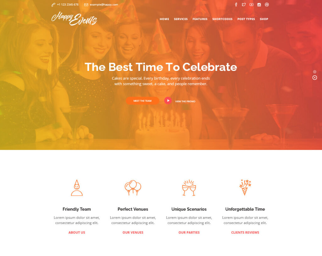 Happy Events Event Planning and Rental House WordPress Theme