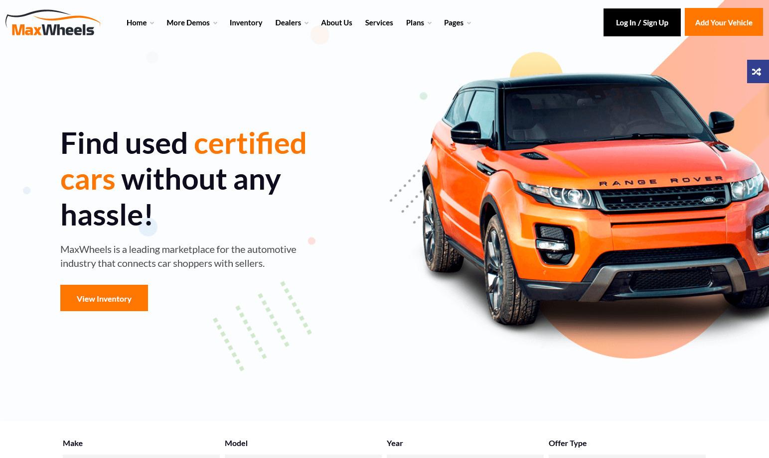 MaxWheels Auto Sales and Service WordPress Theme
