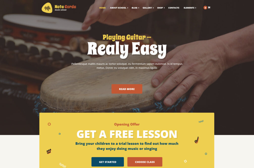 NotaCorda Music School and Musicians WordPress Theme
