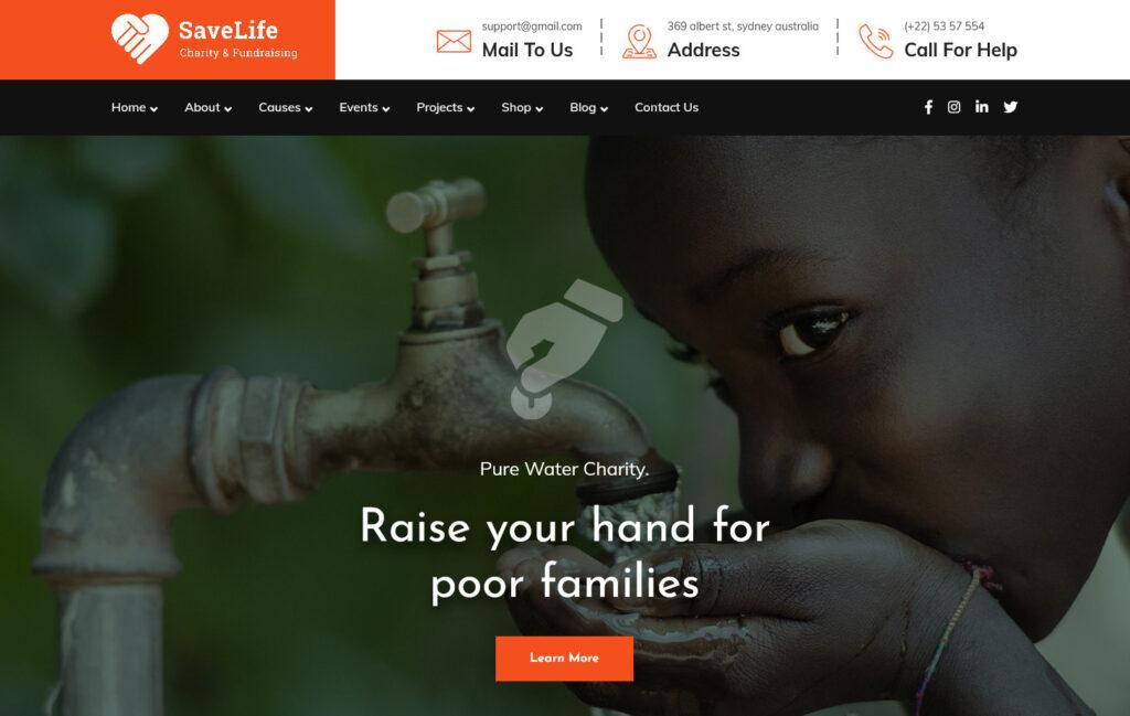 Savelife WordPress Theme for Charities and Fundraising