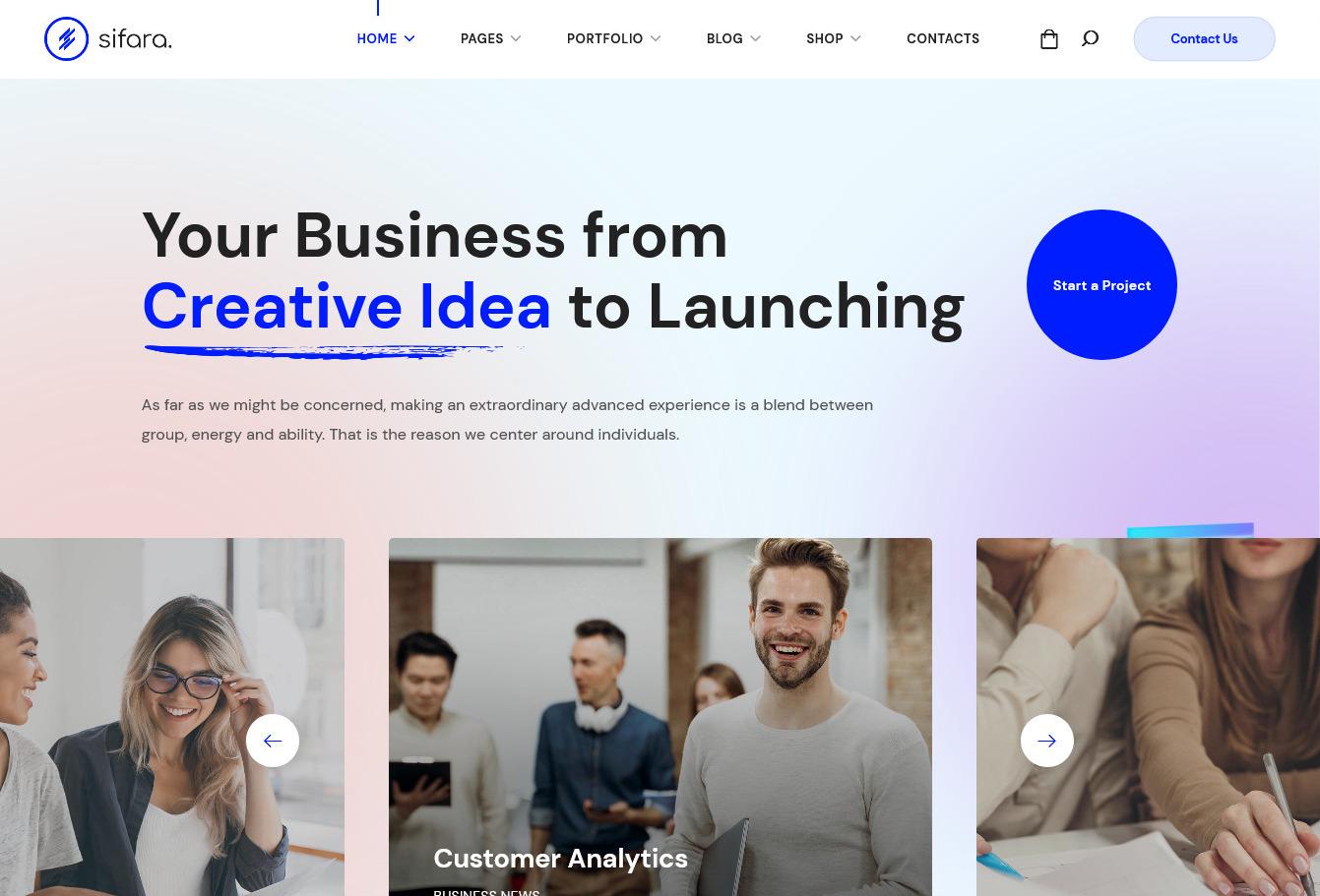 Sifara WebGeniusLab WordPress Theme for Startups