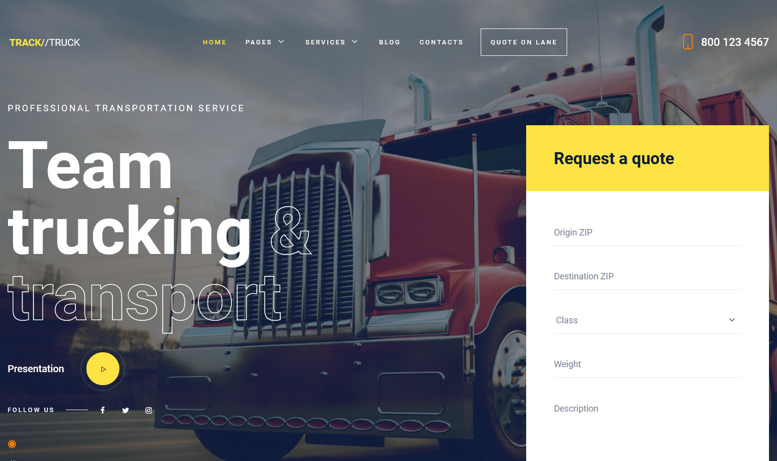 TruckTrack Shipping and Courier Services WordPress Theme