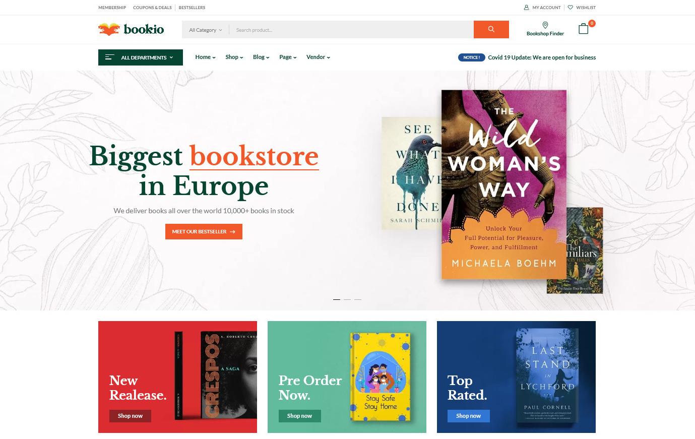 Bookio Book Store WooCommerce WordPress Theme