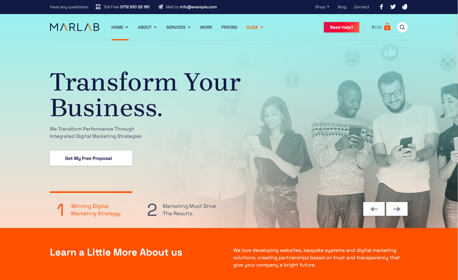 MarLab WP Theme for Marketing and Services Company
