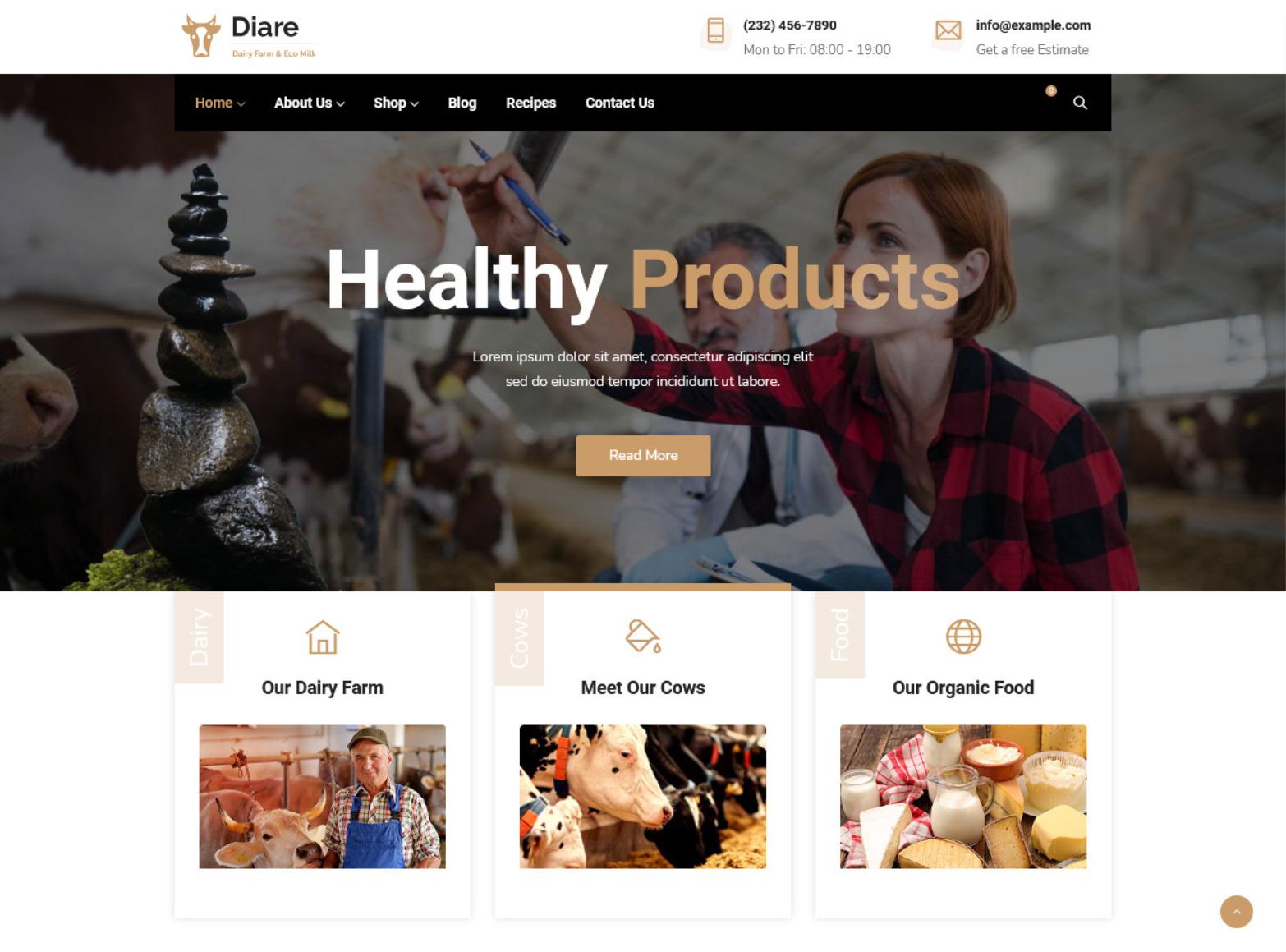 Diare Dairy Farm Eco Milk WordPress Theme