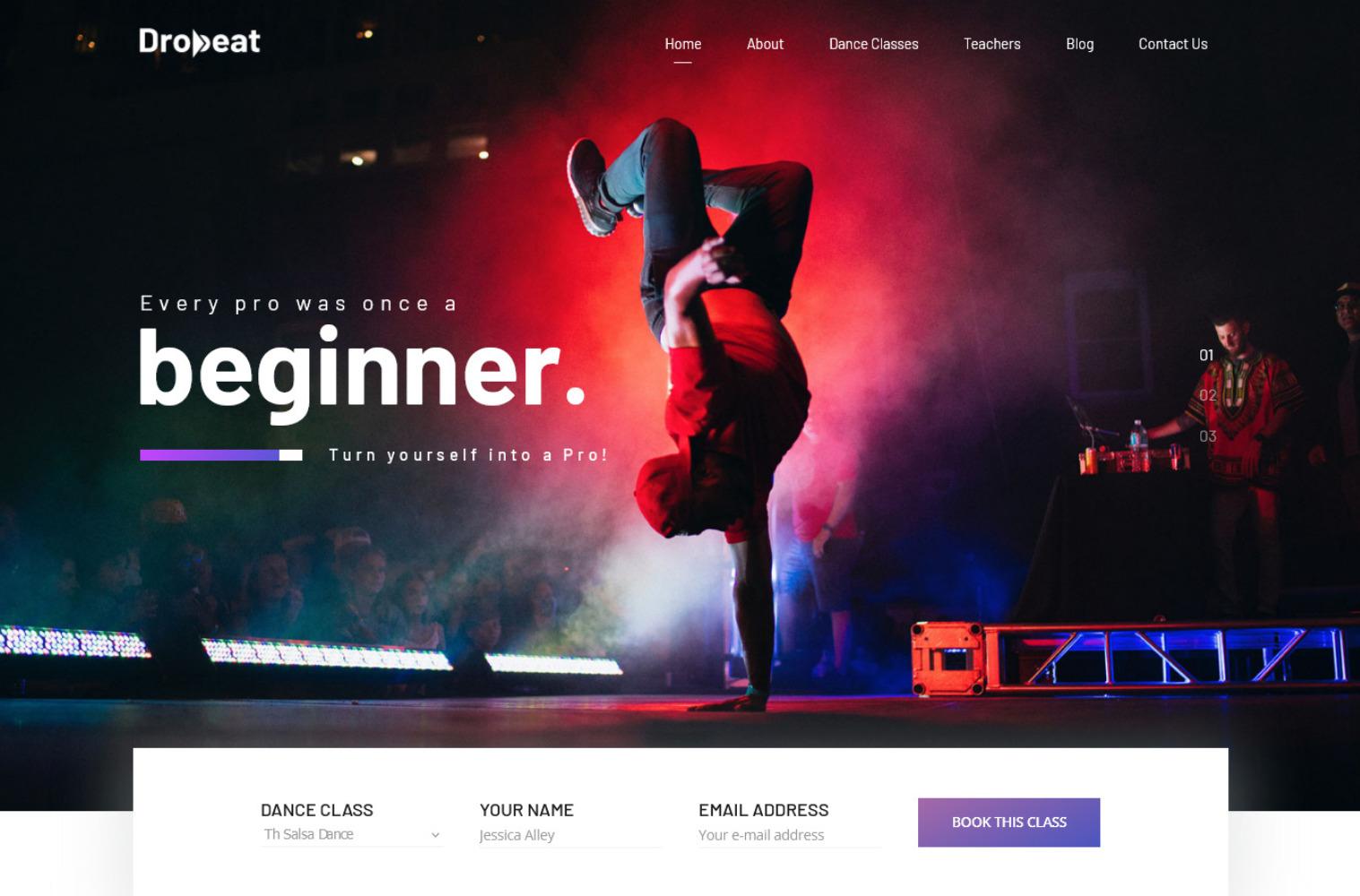 Dropbeat Alternative Dance Studio WordPress Themes