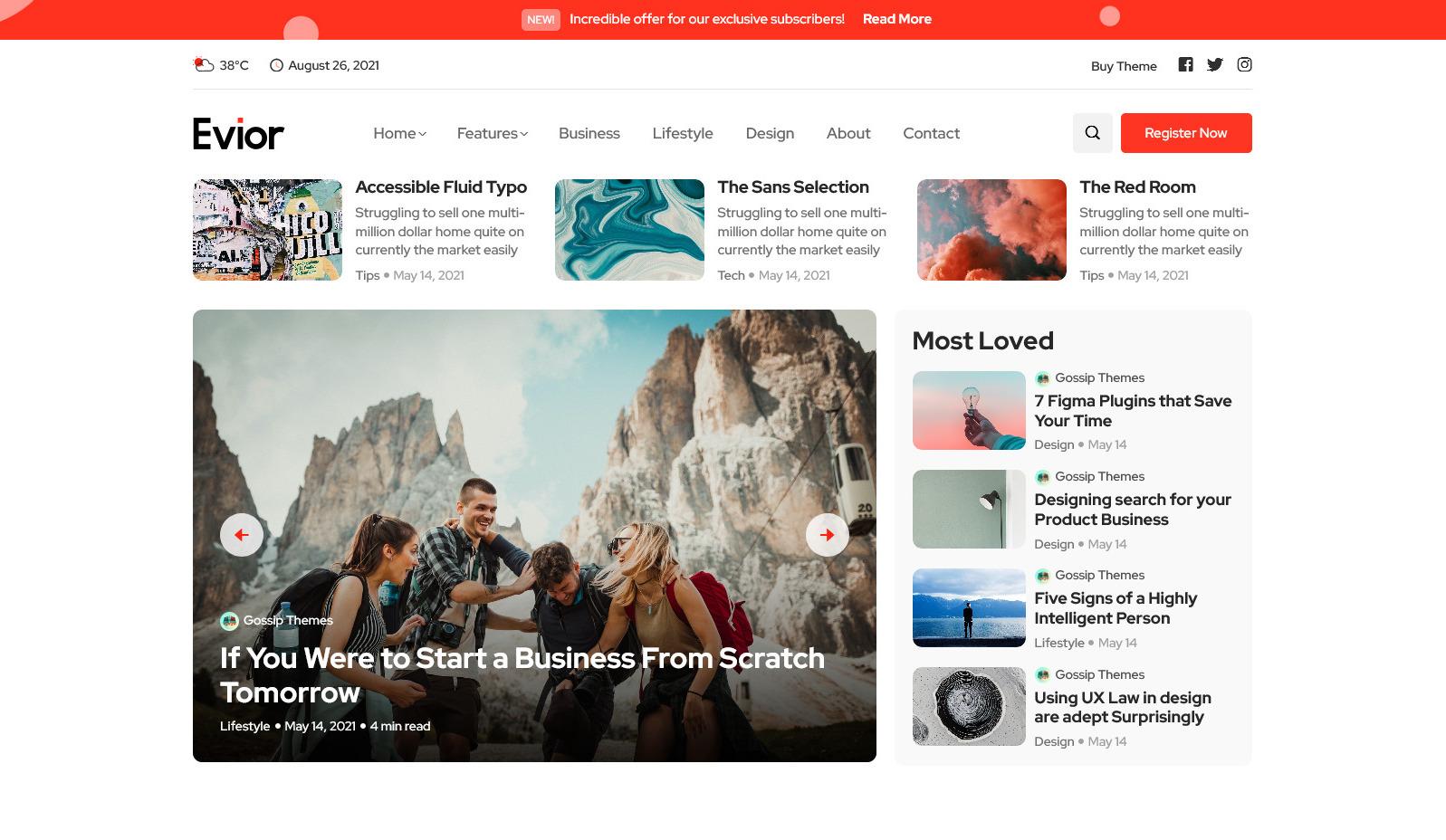 Evior – Modern Magazine WordPress Theme