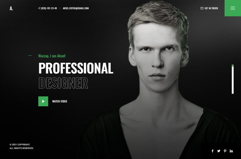 Aksel Modern and Creative CV or Resume WordPress Theme