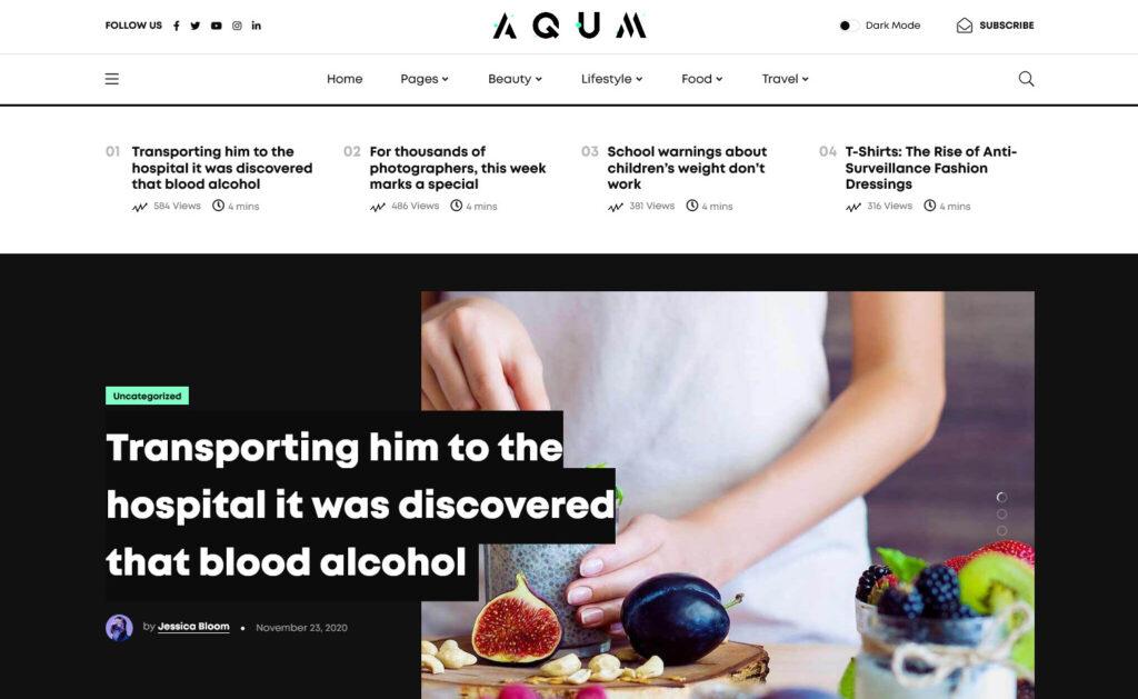 Aqum Contemporary Magazine WordPress Theme
