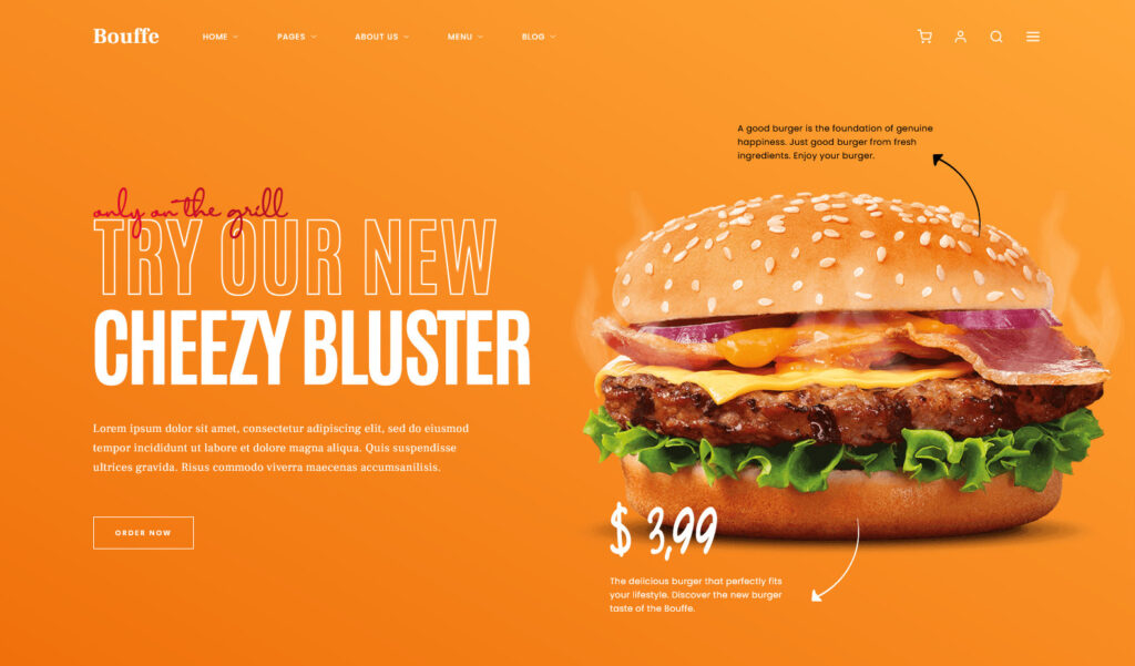 Bouffe Burger Restaurant WordPress Theme