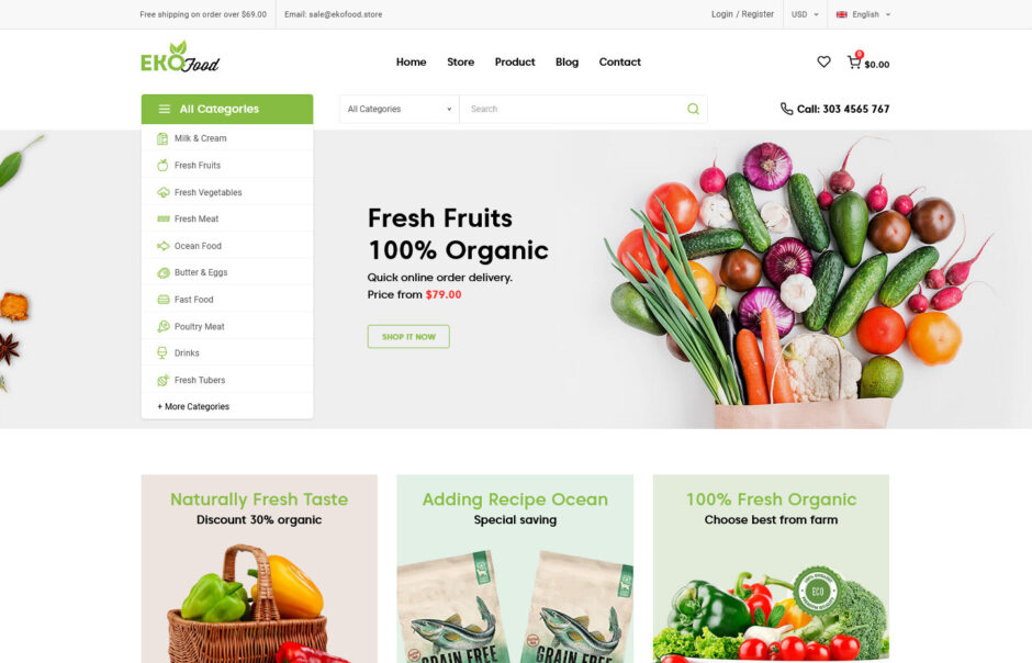 EkoFood Organic and Food Store Theme