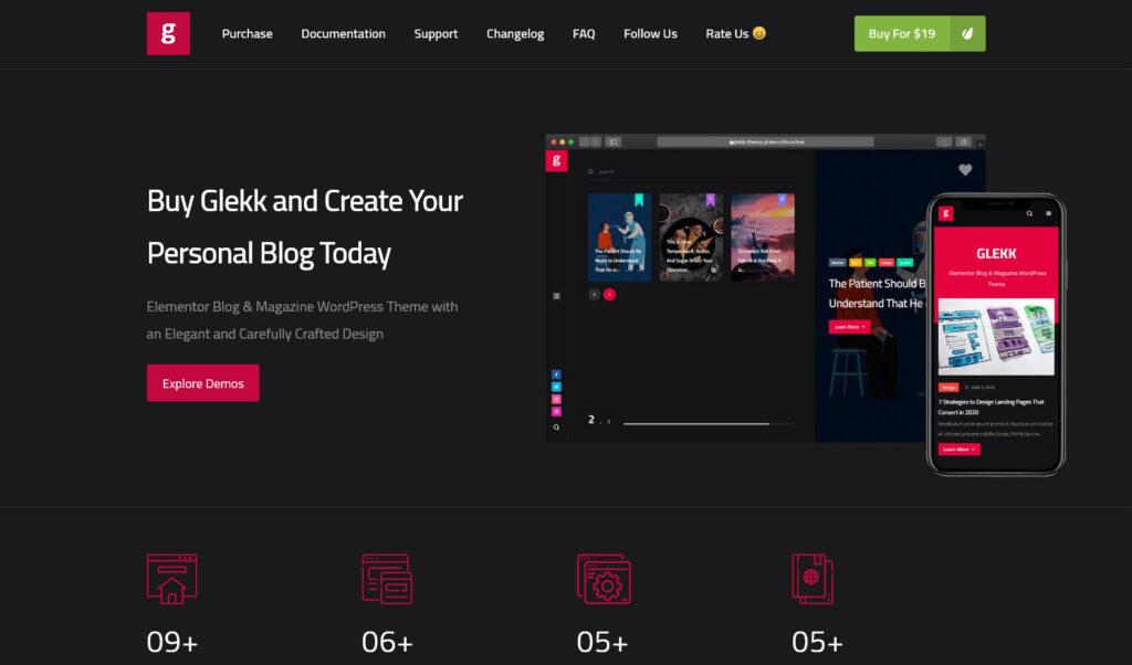 Glekk – Elementor Blog Magazine WordPress Theme