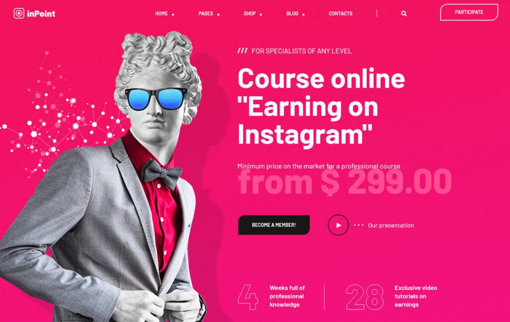 InPoint Instagram Course WordPress Theme