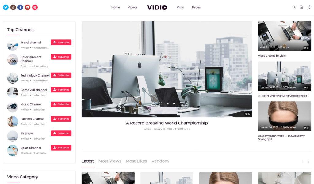 Vidio – Multipurpose Video Manager WordPress theme
